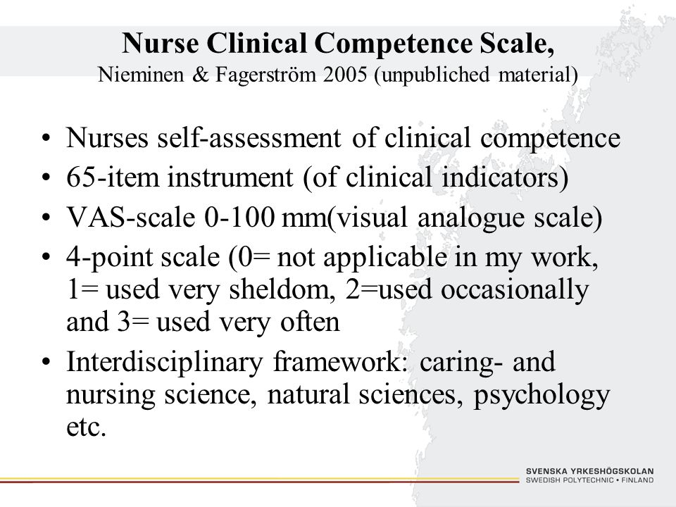 Nurse Clinical Competence Scale, Nieminen & Fagerström 2005 (unpubliched material)