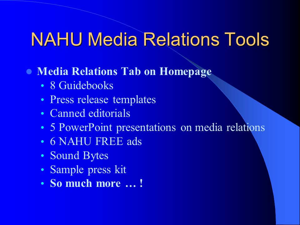 NAHU Media Relations Tools