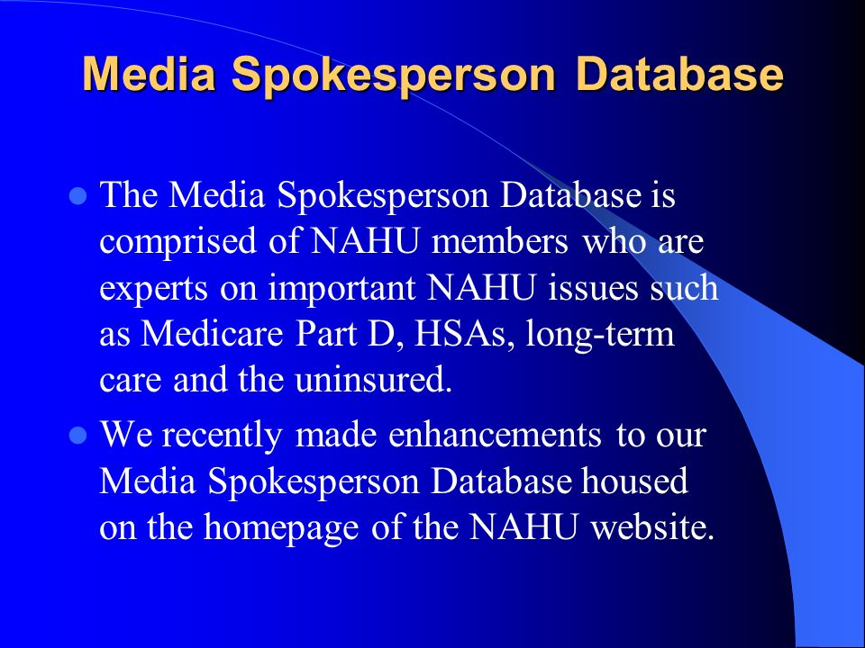 Media Spokesperson Database