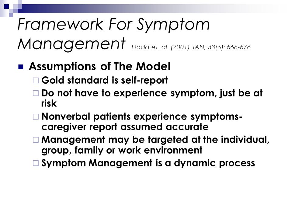Framework For Symptom Management Dodd et. al