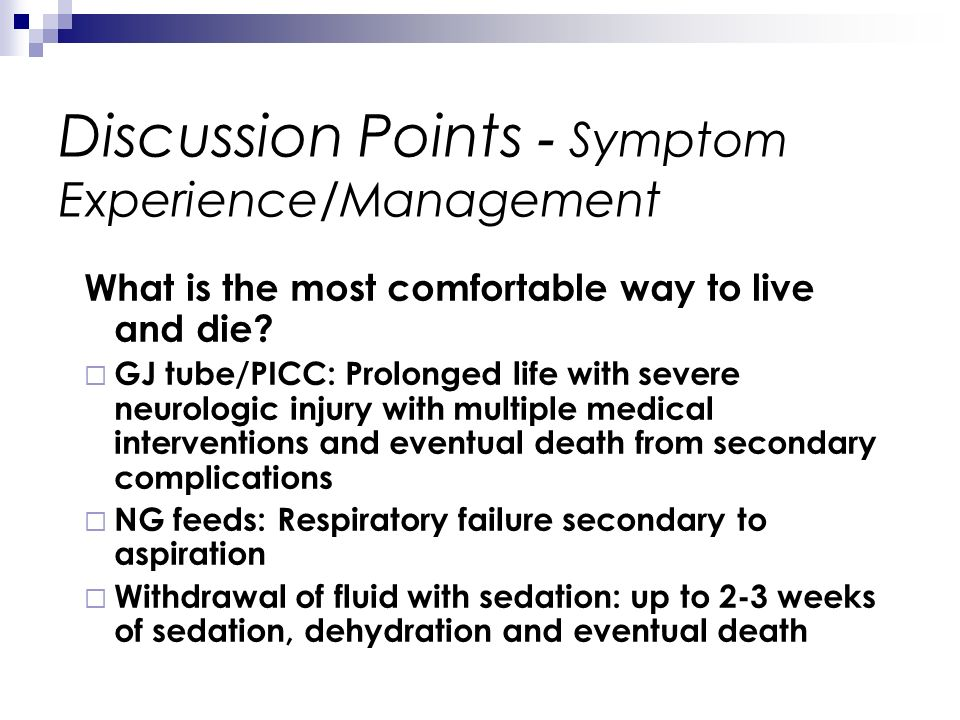Discussion Points - Symptom Experience/Management