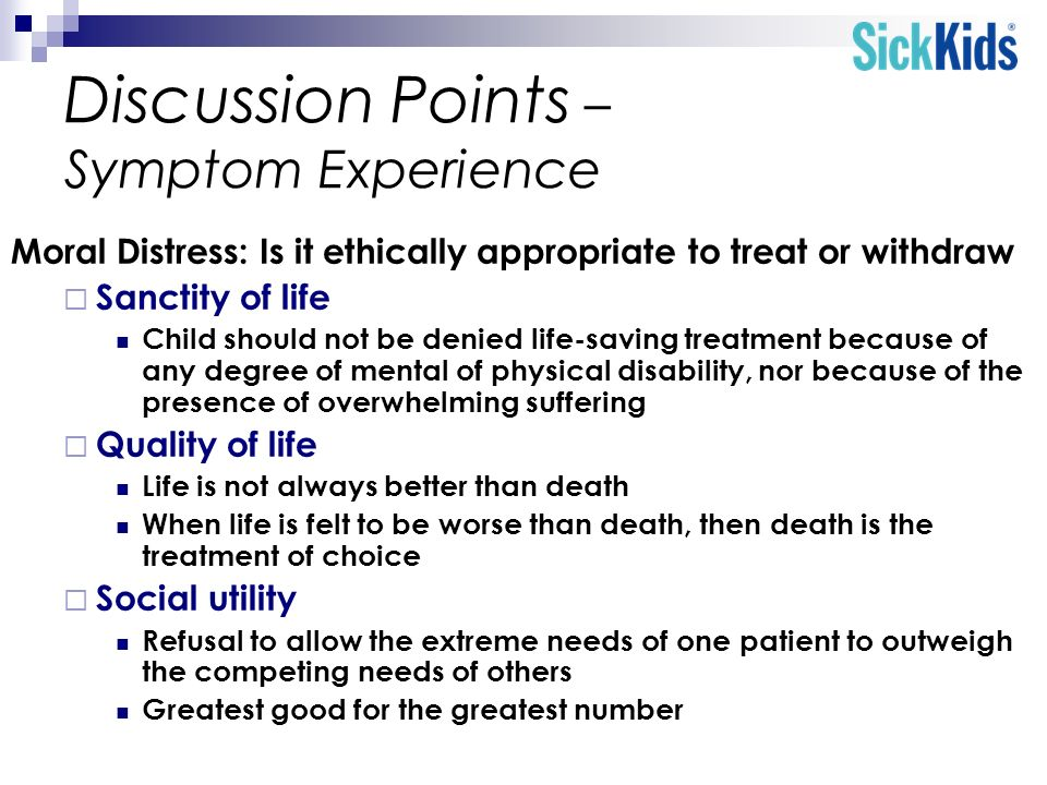 Discussion Points – Symptom Experience