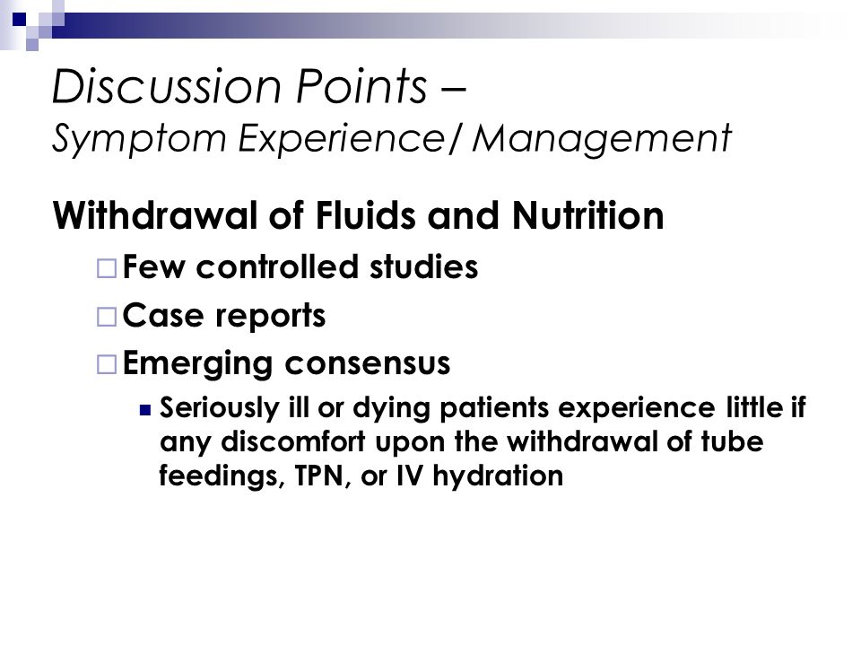 Discussion Points – Symptom Experience/ Management