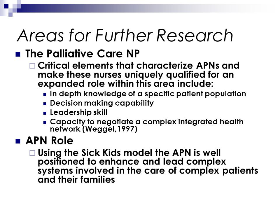 Areas for Further Research