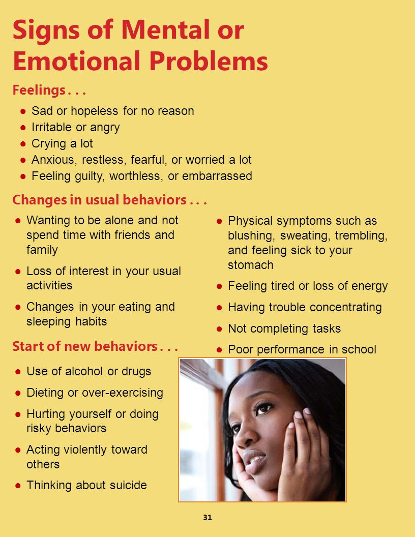 Signs of Mental or Emotional Problems Feelings . . .