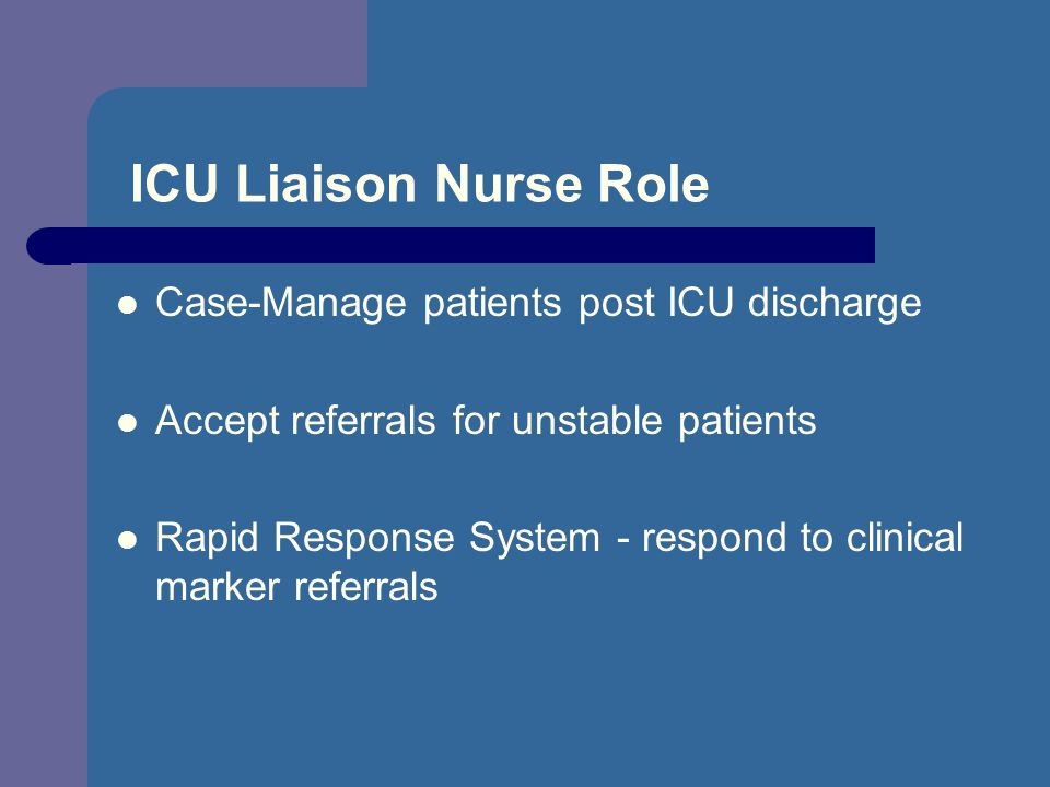 ICU Liaison Nurse Role Case-Manage patients post ICU discharge