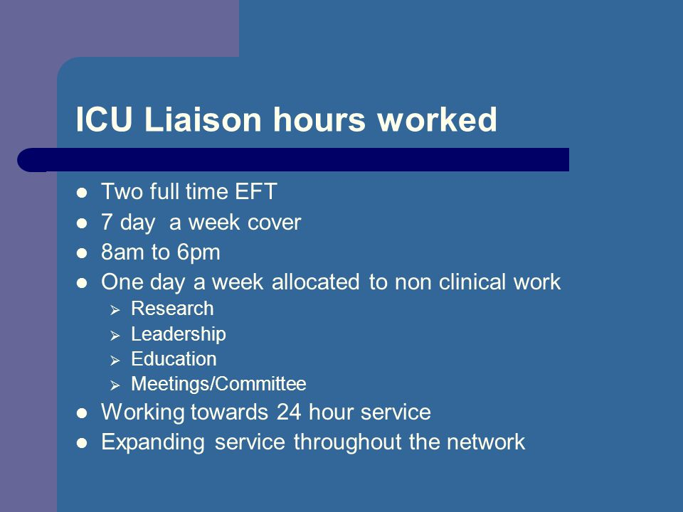 ICU Liaison hours worked