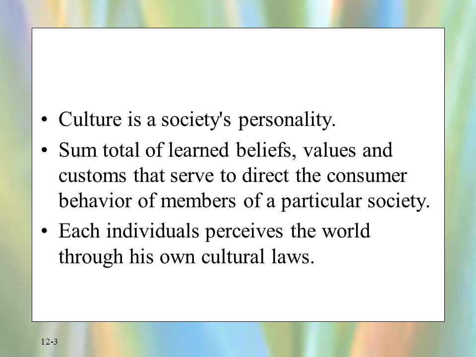 influence of cultural values on peoples behaviour Culture and consumer behavior—a study of trinidad & tobago was not long for widespread consensus to coalesce in the marketing literature recognizing the influence of culture on the behavior of consumers there is a relationship between values and beliefs and consumer behavior.