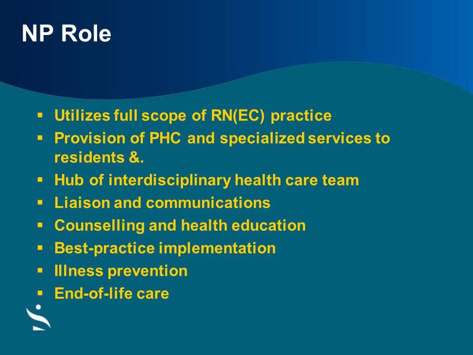 NP Role Utilizes full scope of RN(EC) practice