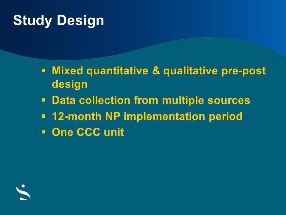Study Design Mixed quantitative & qualitative pre-post design