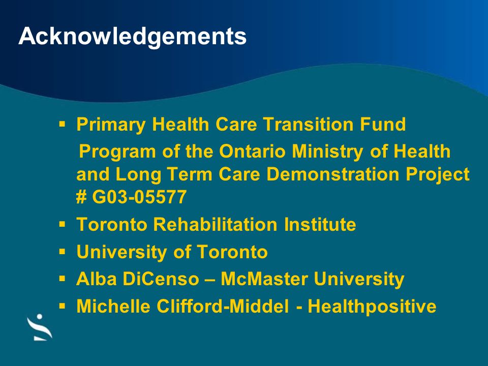 Acknowledgements Primary Health Care Transition Fund