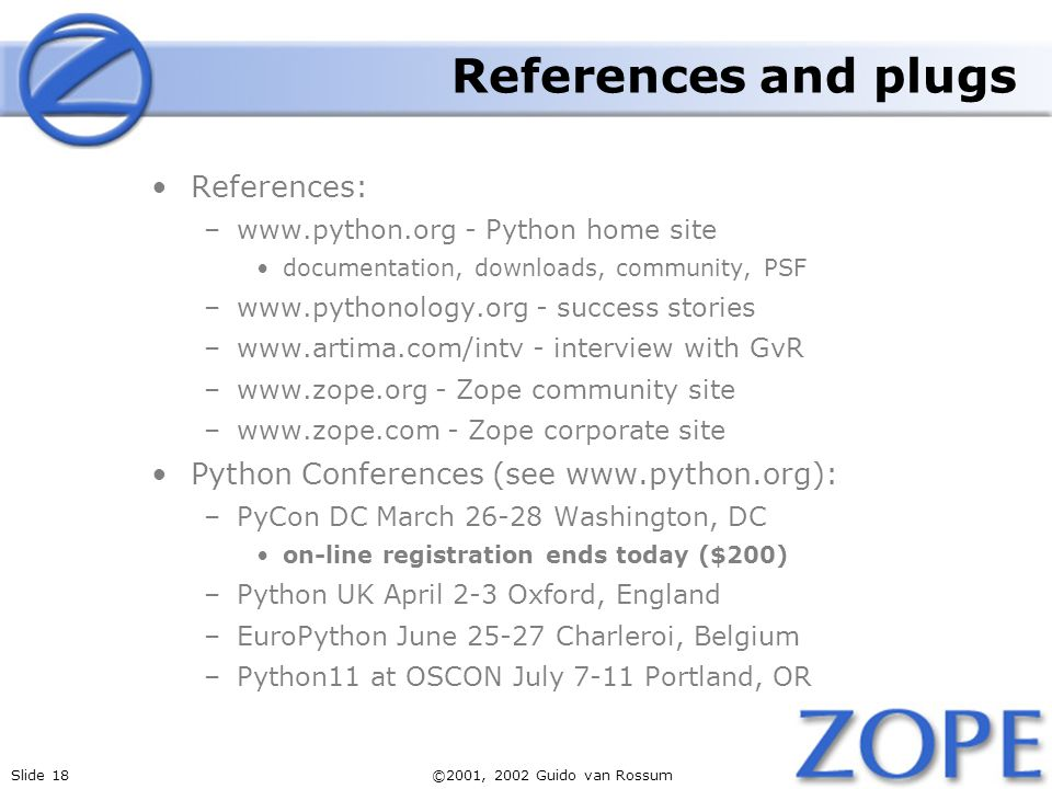 References and plugs References: