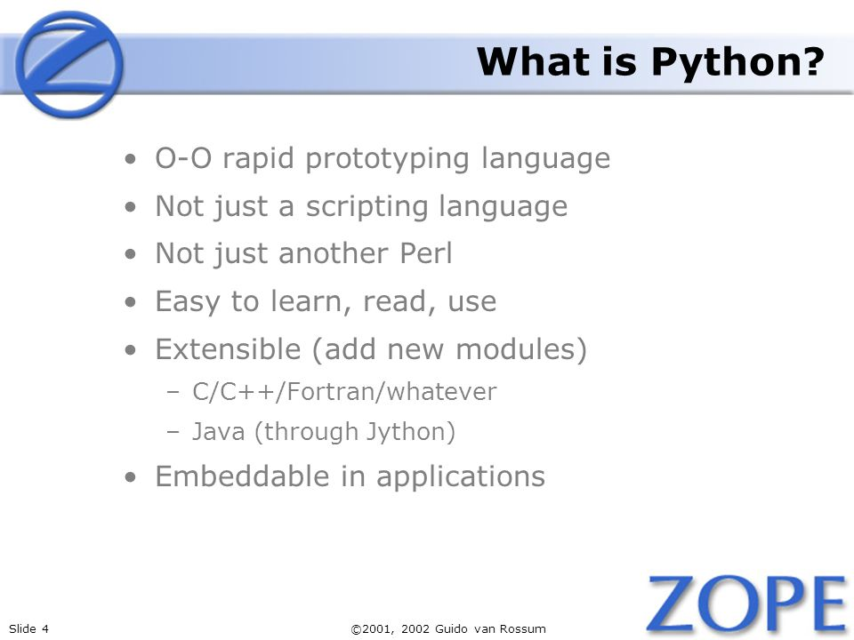 What is Python O-O rapid prototyping language