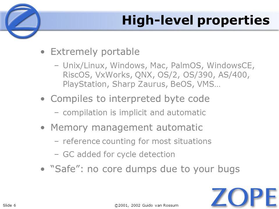 High-level properties