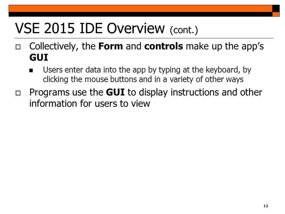 VSE 2015 IDE Overview (cont.)