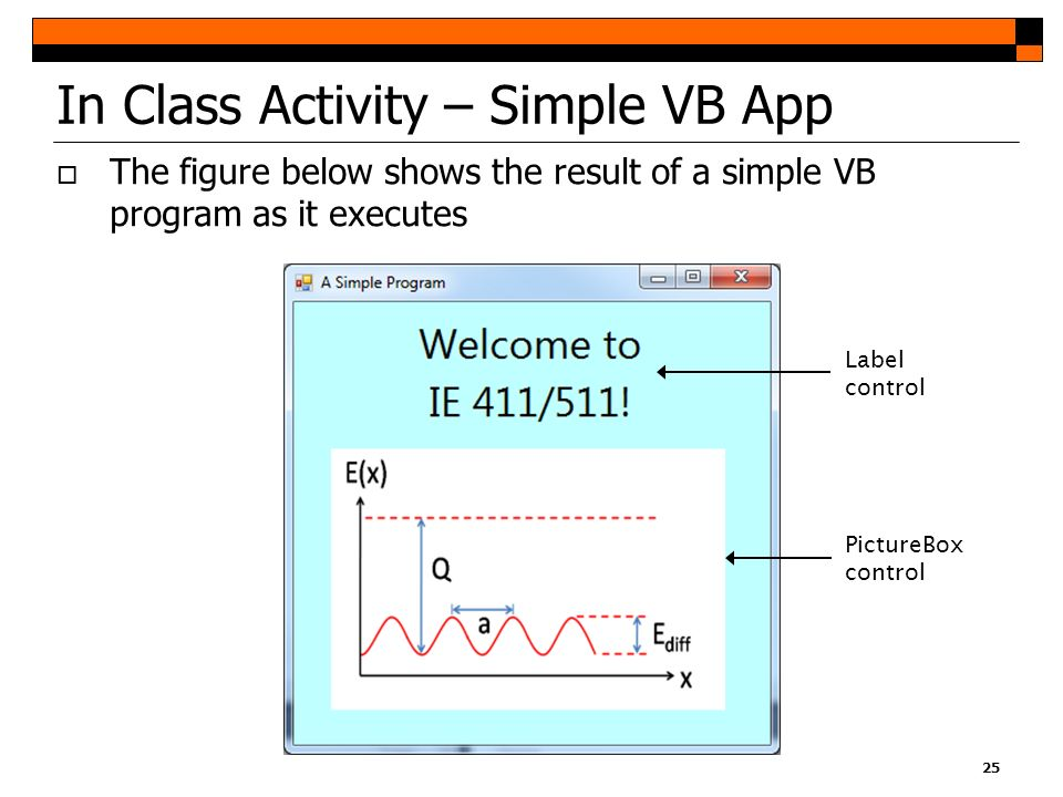 In Class Activity – Simple VB App