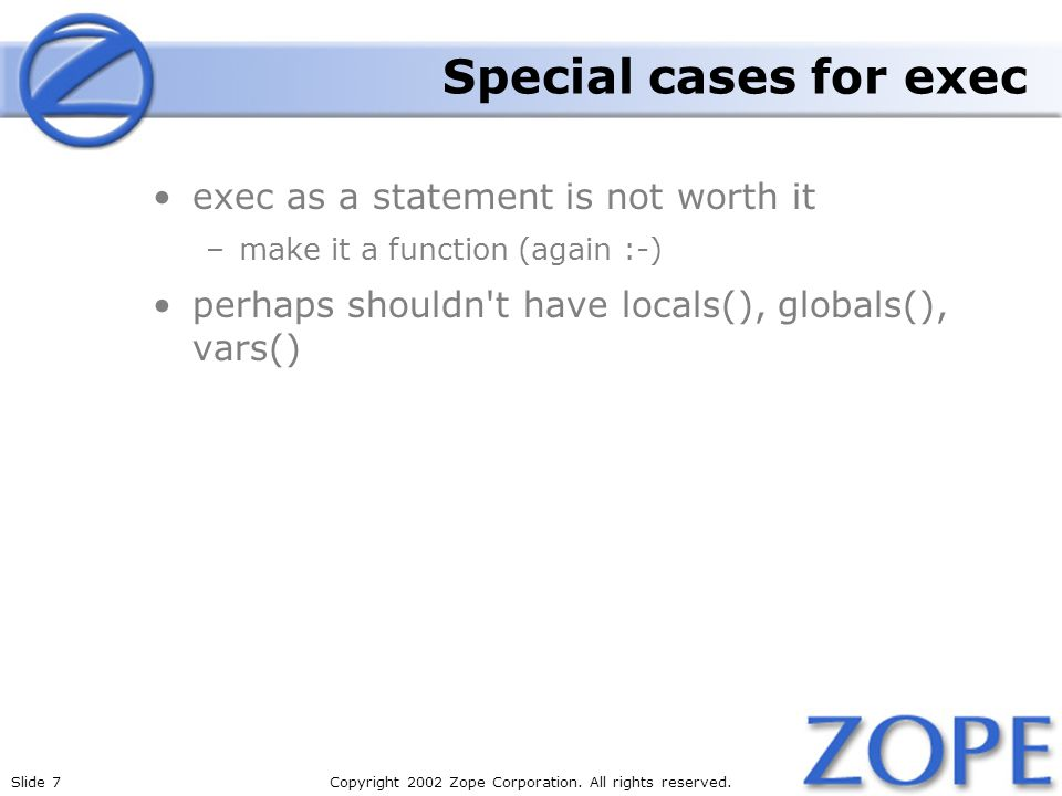 Special cases for exec exec as a statement is not worth it