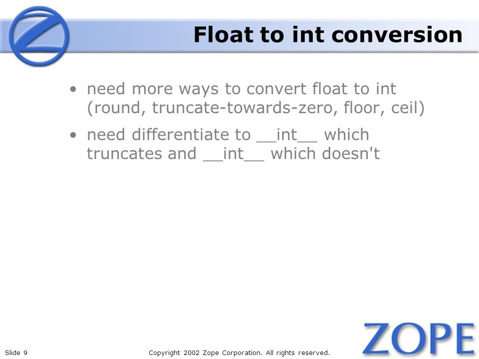 Float to int conversion