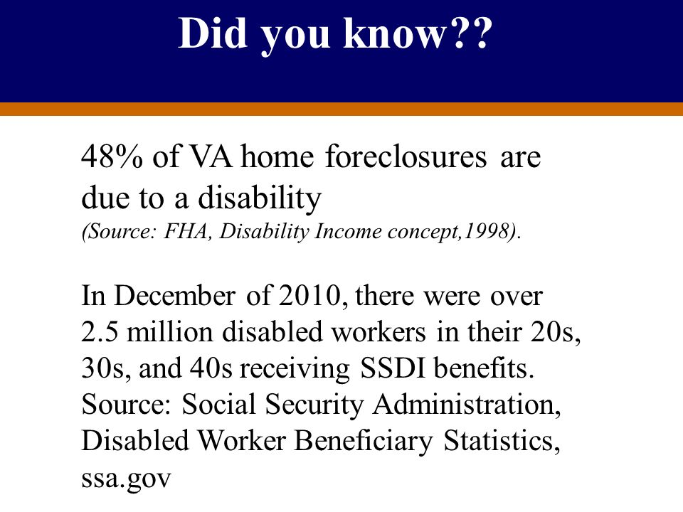Did you know 48% of VA home foreclosures are due to a disability (Source: FHA, Disability Income concept,1998).