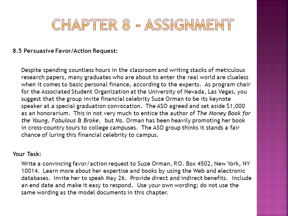 chapter 8 assignment