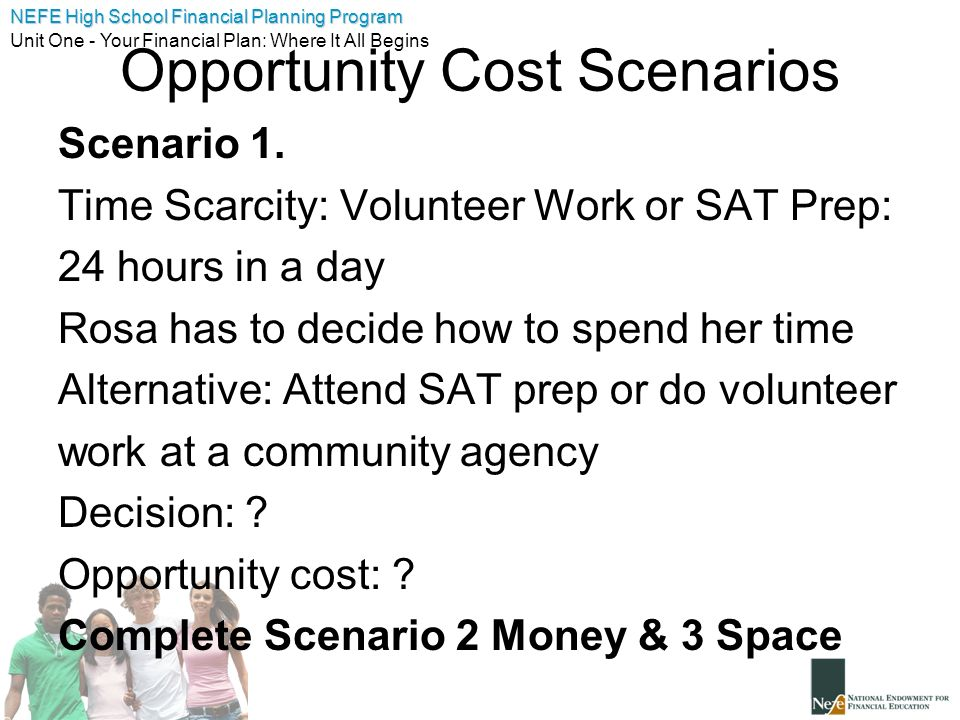 opportunity cost scenario The opportunity cost of the 2017 class new  opportunity cost is the basic premise behind there is no such thing as a free lunch  an exercise in 3 alternative scenarios and what that.