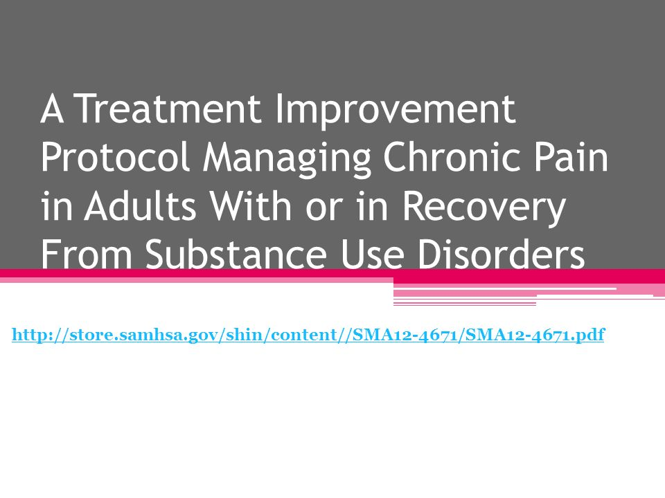 A Treatment Improvement Protocol Managing Chronic Pain in Adults With or in Recovery From Substance Use Disorders