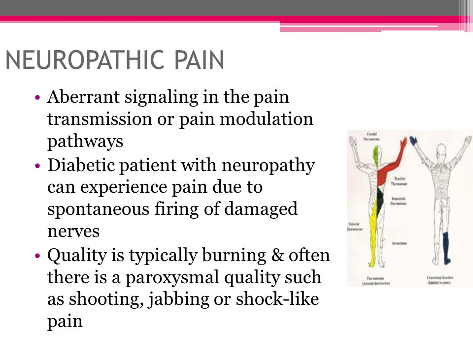 Neuropathic pain Aberrant signaling in the pain transmission or pain modulation pathways.