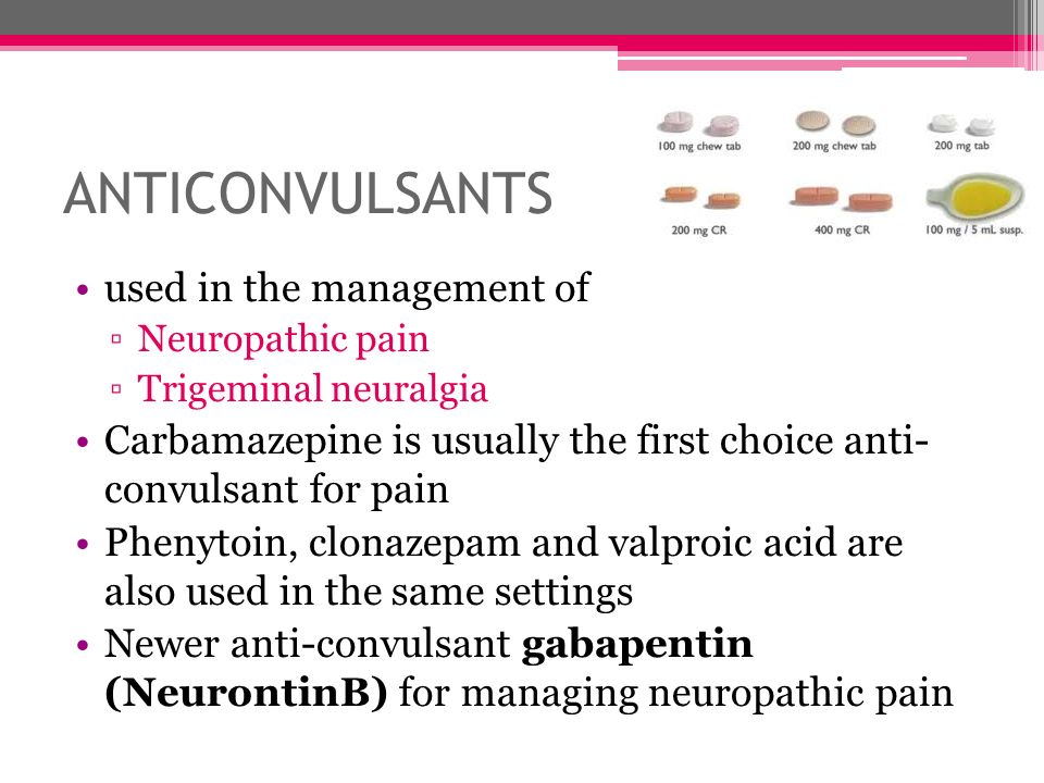 ANTICONVULSANTS used in the management of