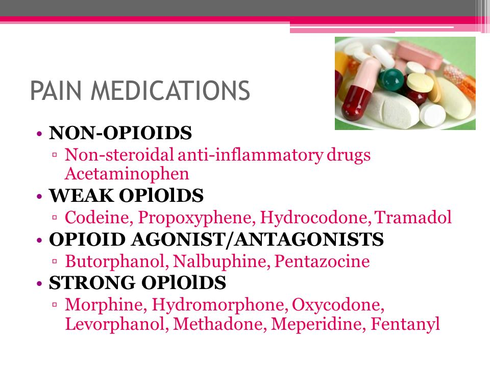 PAIN MEDICATIONS NON-OPIOIDS WEAK OPlOlDS OPIOID AGONIST/ANTAGONISTS