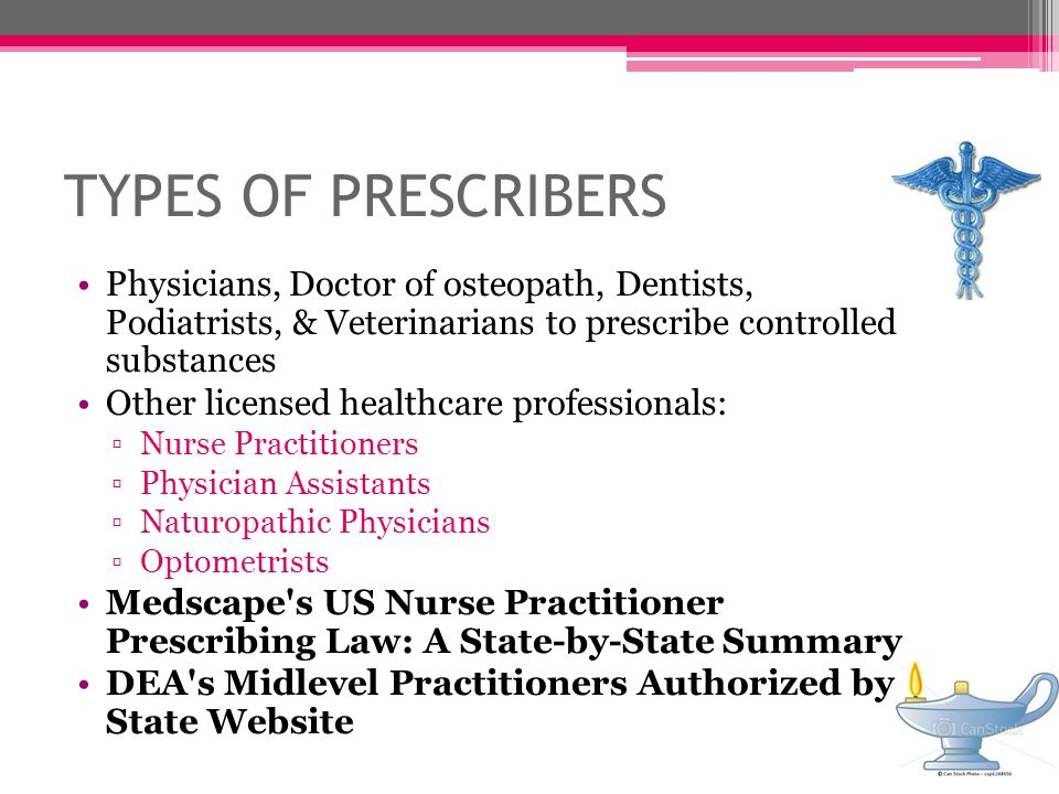 TYPES OF PRESCRIBERS Physicians, Doctor of osteopath, Dentists, Podiatrists, & Veterinarians to prescribe controlled substances.