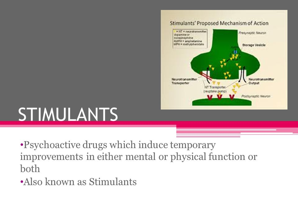 STIMULANTS Psychoactive drugs which induce temporary improvements in either mental or physical function or both.