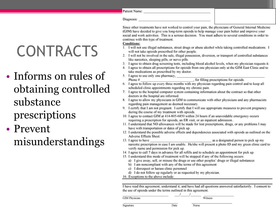 CONTRACTS Informs on rules of obtaining controlled substance prescriptions. Prevent misunderstandings.