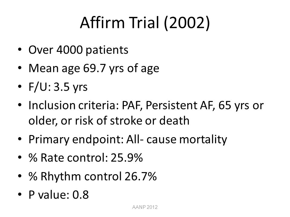 Affirm Trial (2002) Over 4000 patients Mean age 69.7 yrs of age