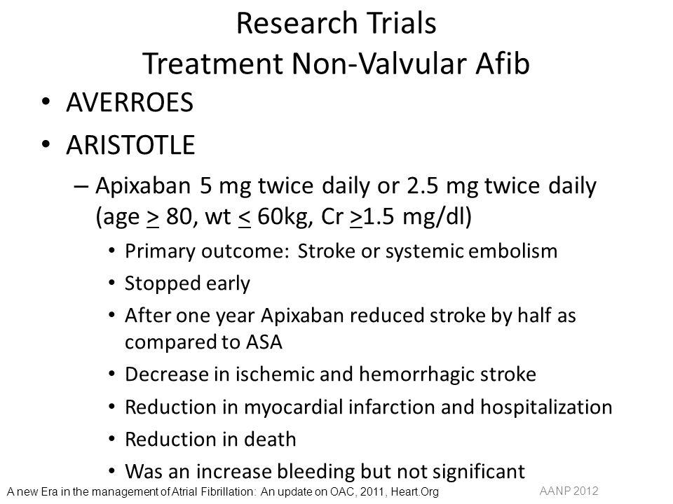 Research Trials Treatment Non-Valvular Afib