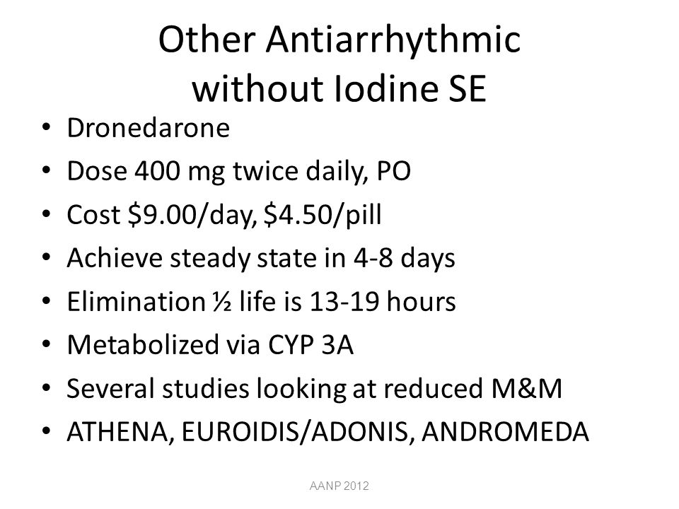 Other Antiarrhythmic without Iodine SE