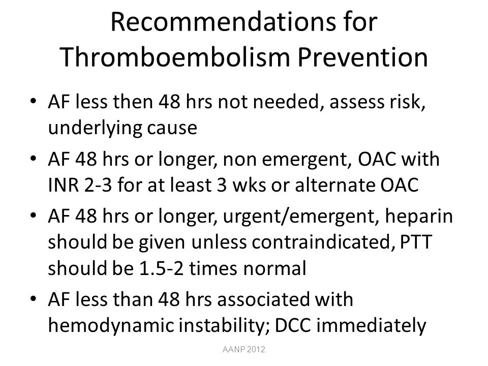 Recommendations for Thromboembolism Prevention