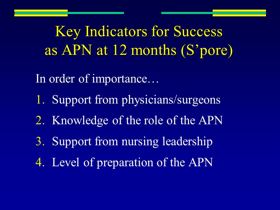 Key Indicators for Success as APN at 12 months (S'pore)