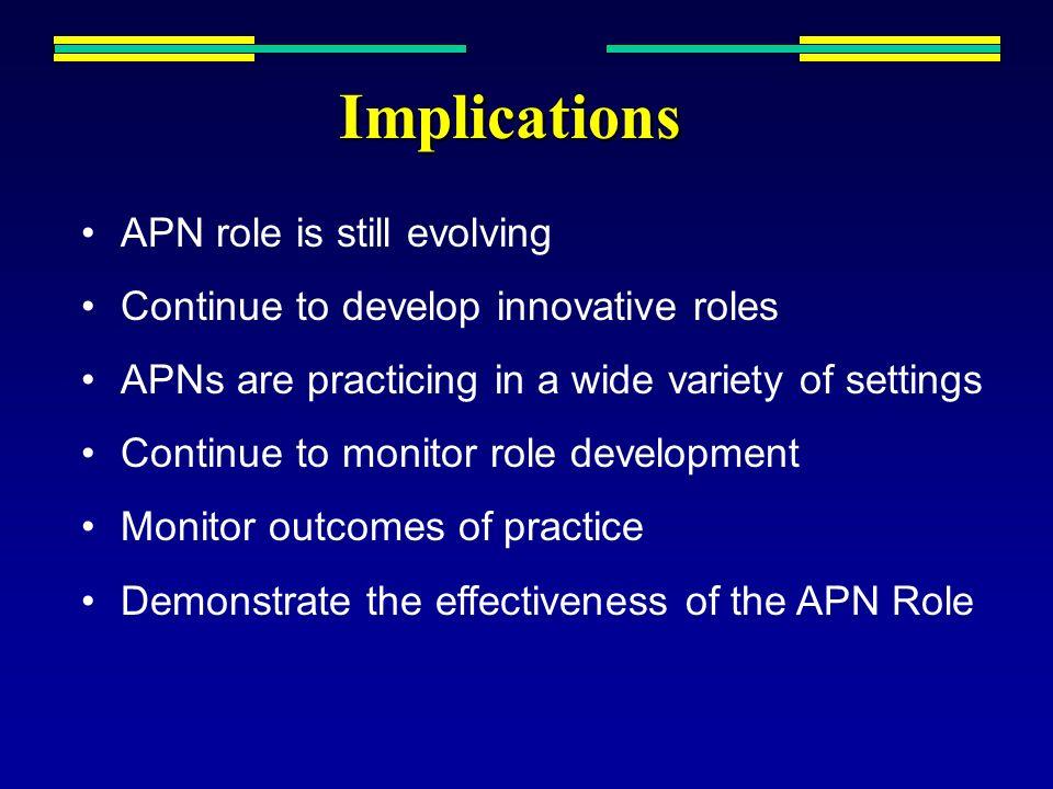Implications APN role is still evolving