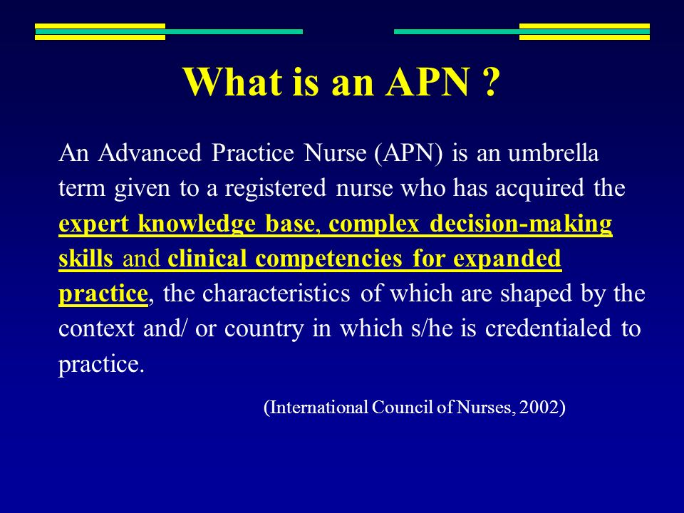 developing leadership in advanced practice nursing apn Download citation | advanced practice nu | the aim of this paper is to discuss six issues influencing the introduction of advanced practice nursing (apn) roles: confusion about apn terminology, failure to define clearly the roles and goals, role emphasis on physician replacement/support, unde.