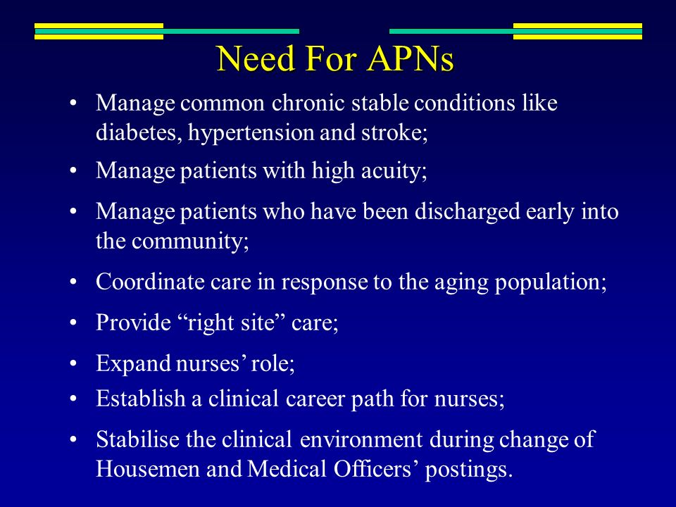 Need For APNs Manage common chronic stable conditions like diabetes, hypertension and stroke; Manage patients with high acuity;