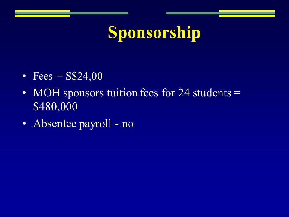 Sponsorship MOH sponsors tuition fees for 24 students = $480,000