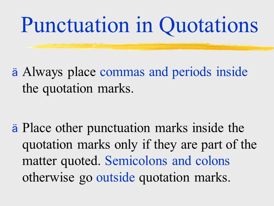 how to use quotation marks and periods