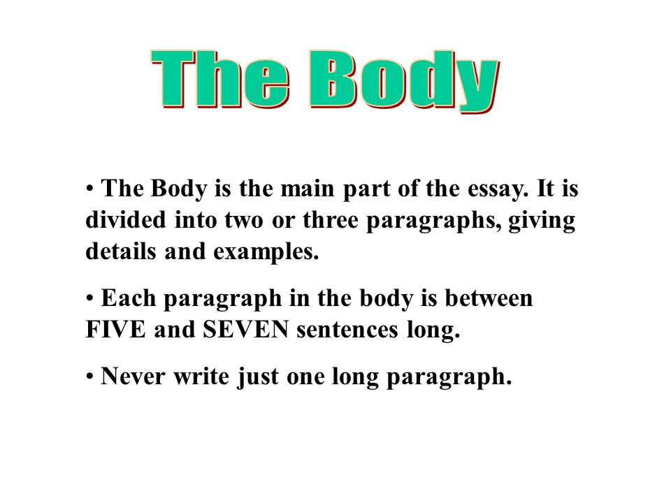 what goes in the main body of an essay So make sure you keep linking back to the question as you go  i normally  recommend exploring just 2 aok's in the main body of your essay and then  include a.
