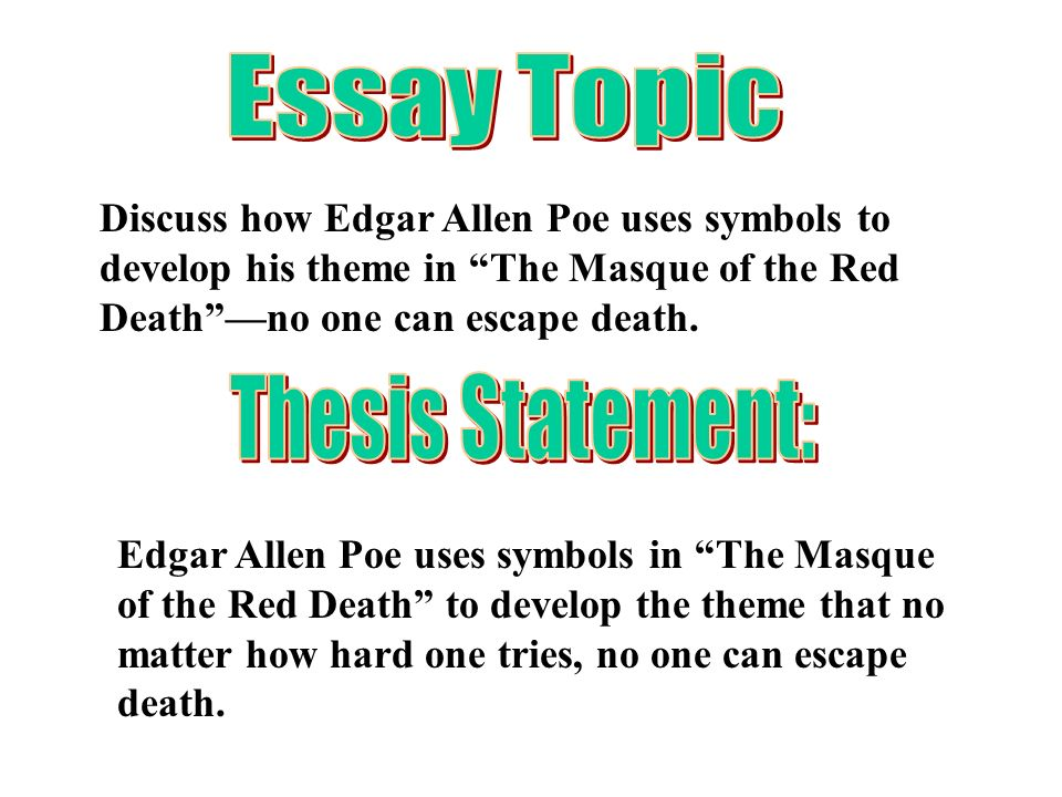 """the masque of the red death essay questions A summary of """"the masque of the red death"""" suggested essay topics here are 20 questions you can ask about pretty much any shakespeare play."""