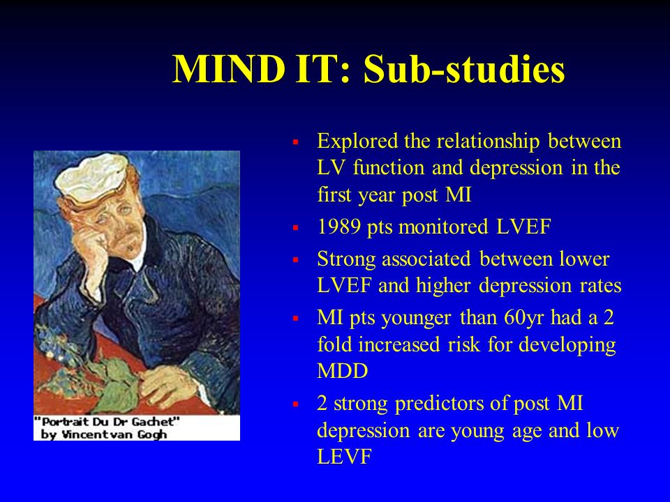 MIND IT: Sub-studies Explored the relationship between LV function and depression in the first year post MI.