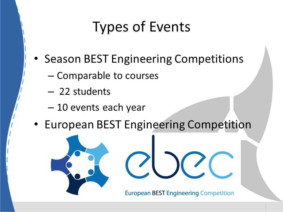 Types of Events Season BEST Engineering Competitions