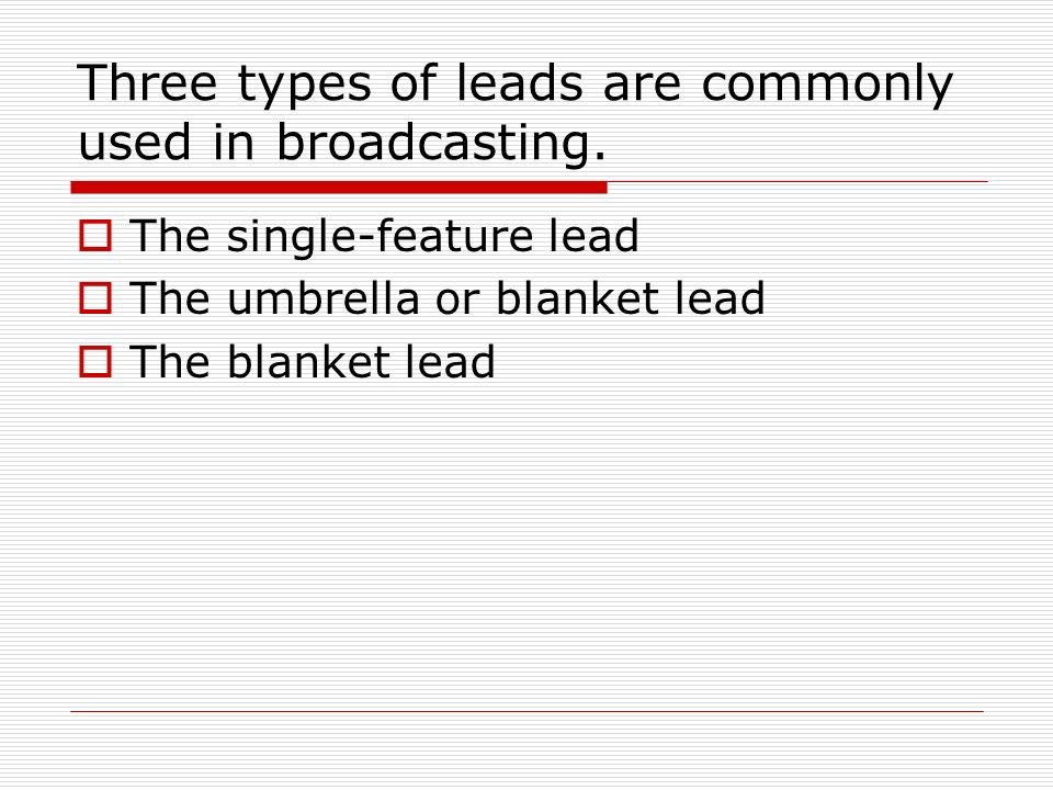 types of leads in journalism pdf