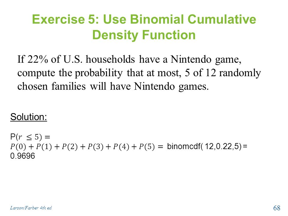 how to use cumulative binomial distribution table