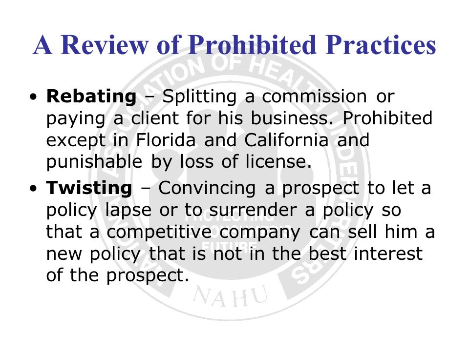 A Review of Prohibited Practices