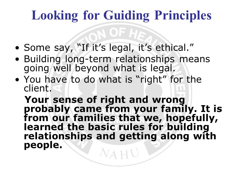 Looking for Guiding Principles